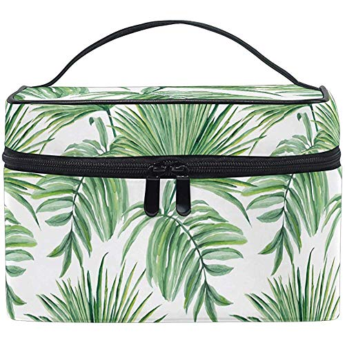 Tropical Palm Leaves Makeup Bag Summer Palm Tree Toiletry Brush Train Zip Carrying Portable Storage Pouch Bags Box Box