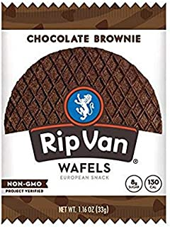 Rip Van Wafels Non-GMO Snack Wafels, Chocolate Brownie, Pack of 12, 13.92 Ounce, low calorie & low sugar