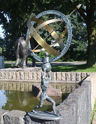 H. Packmor GmbH Bronzeskulptur Sonnenuhr mit Sockel - Dekoration für den Garten - 33x70x35 cm