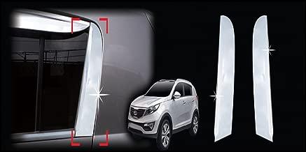 AUTOCLOVER B910 Rear Left Right Window C Pillar Chrome Line Sill Trim 2-pc Set For 2011 2012 2013 Kia Sportage R