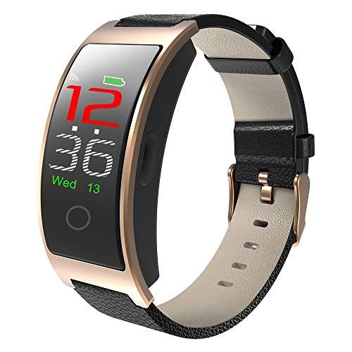 ALCADAN Smartwatch, Fitness Armband Voller Touch Screen Smart Watch IP68 Wasserdicht Fitness Uhr mit Pulsuhren Schrittzähler Damen Herren Armbanduhr Sportuhr für iOS Android (CK11C Golden)