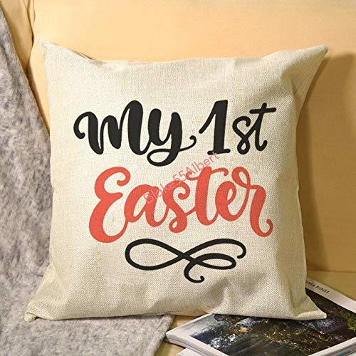 happygoluck1y My 1st Easter - Funda de almohada con cita a mano (45,7 x 45,7 cm), diseño de casa de campo