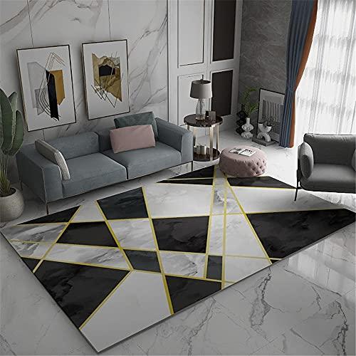 Kunsen Decoracion de Salones Alfombra habitacion Carpeta de Pila Baja Sala de Estar decoración Gris blay geométrico Mancha Resistente Alfombra Juegos Bebe 80X160CM 2ft 7.5' X5ft 3'