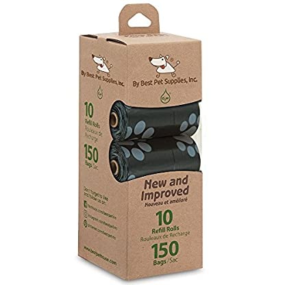 Best Pet Supplies Dog Poop Bags for Waste Refuse Cleanup, Doggy Roll Replacements for Outdoor Puppy Walking and Travel, Leak Proof and Tear Resistant, Thick Plastic - Black, 150 Bags 4