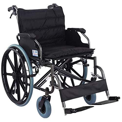 Mdhk Silla De Ruedas Plegable Portátil Ligero Portátil con Asiento Ancho 56Cm Ancianos Obesos Autopropulsada Walker