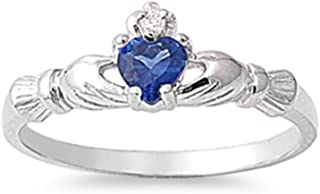 Sterling Silver Claddagh Ring, 7mm Choose Your Color