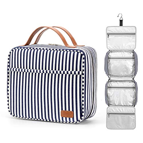 Hanging Travel Toiletry Bag, Large Capacity Wash Bag Waterproof Cosmetic Bag Makeup Organizer with 4 Compartments & 1 Sturdy Hook for Women/Men (Navy Blue & White Striped)