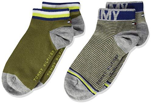 Tommy Hilfiger Jungen TH KIDS QUARTER 2P FINE STRIPE Socken, Grün (Olive Combo 020), 27-30 (Herstellergröße: 27/30) (2er Pack)