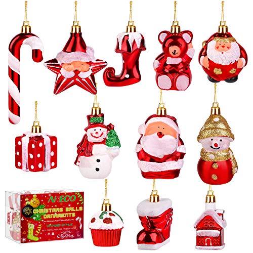 Aneco 12 Pieces Christmas Ornaments Christmas Tree Baubles Plastic Hanging Crafts Snowman Christmas Stockings Santa Claus Decor Festive Embellishments for Christmas Decor
