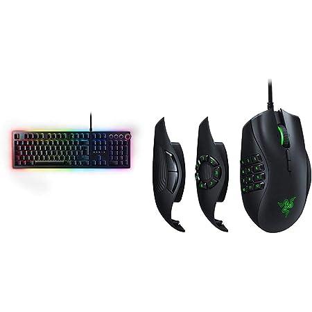 Razer Huntsman Elite - Teclado Gaming, Teclado Rápido, Switches Optomecánicos De Razer + Naga Trinity - Ratón para Juegos MOBA/MMO