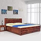 BM WOOD FURNITURE Sheesham Wood King Size Wooden Storage Bed Daimond Design Bed Natural Honey Finish