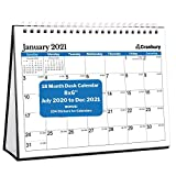 CRANBURY Small Desk Calendar 2020-2021 (Blue, 8x6'), Cute Desktop Standing Flip Monthly Calendar on Easel, Use Now to December 2021 as Academic Calendar 2020-2021 and Full Year 2021 Calendar
