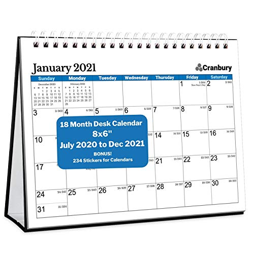 CRANBURY Small Desk Calendar 2020-2021 (Blue, 8x6