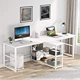 94.5 inches Two Person Desk, Double Computer Desk with Storage Shelves, Extra Long 2 People Workstation Office Desk Study Writing Desk for Home Office (White)