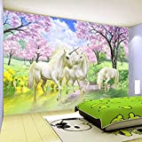 Tapete Einhorn, Kirschblüte, Wald Moderne Wanddeko Design Tapete Wandtapete Wand Dekoratio TV Hintergrundwand 300x210 cm