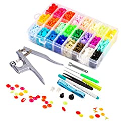 A COMPLETE SET: Our sophisticated snap fastener kit includes a set of snaps pliers and 360 pcs of T5 snap buttons. Each snap has a male and a female button and 24 colours in total with each colour having 15 sets of buttons. Order Yours! PREMIUM QUALI...