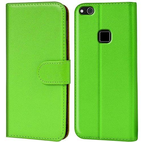 Verco P10 Lite Hülle, Handyhülle für Huawei P10 Lite Tasche PU Leder Flip Hülle Brieftasche - Grün