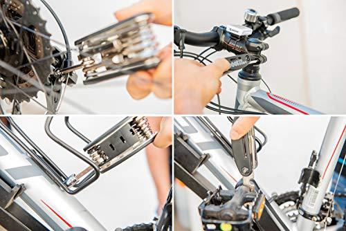 Fahrradwerkzeug – Praktisches Fahrrad Werkzeug- und Reparatur Set – Flickzeug mit 16-in-1 Multitool, Ventiladapter & Aufbewahrungstasche – Fahrradflickzeug I Reparaturset I Reifenflickzeug - 4