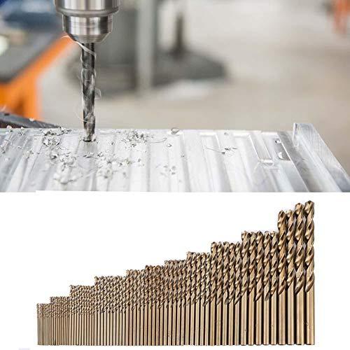 Brocas helicoidales, 74 piezas Juego de brocas de cobalto M35 HSS-CO con vástago recto, 1.0-8.0 mm, herramientas de brocas para taladrar acero inoxidable, hierro fundido, chapa, placa de acero