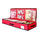 SumDirect 14x40inch Wrapping Paper Storage, Under Bed Gift Wrap Organizer Containers Box (Red)