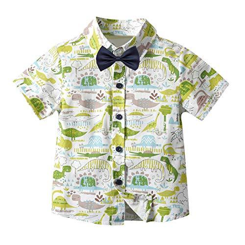 Forver Baby Girl Boy Short Sleeve Tee,Toddler Baby Kids Boys Short Sleeve Bowtie Dinosaur Button T-Shirt Tops Clothes Green
