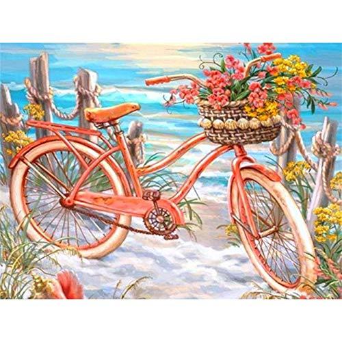 bricolaje 5D pintura diamantes por número Kit Bicicleta de playa 50x90cm para adultos Diamond painting Taladro Completo Cristal Bordado Punto Cruz Artes Para Decoración la Pared del Hogar