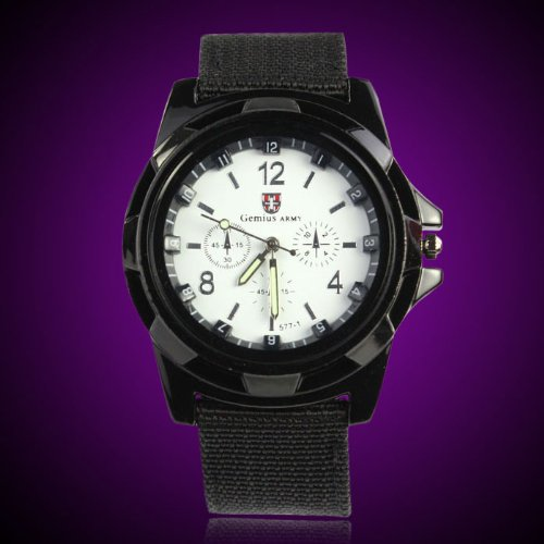 Gemius Army Racing Force Military Sport Mens Fabric Band Watch White