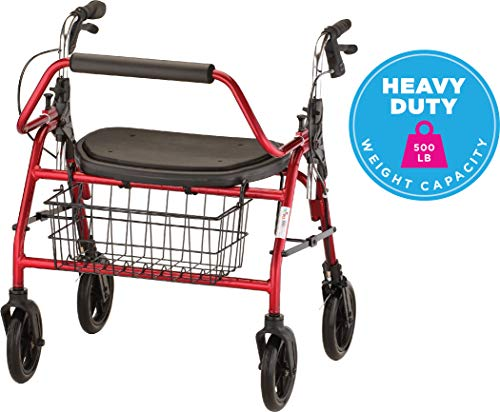 NOVA Mighty Mack Heavy Duty Rollator Walker 500 lb Weight Capacity, Red