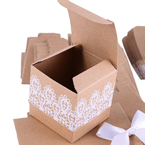 Losuya 50pcs Rustic Candy Boxes Gift Bags Shabby Chic Wedding Favour Boxes with Bow Lace Ribbon for Wedding Party Baby Shower Favor