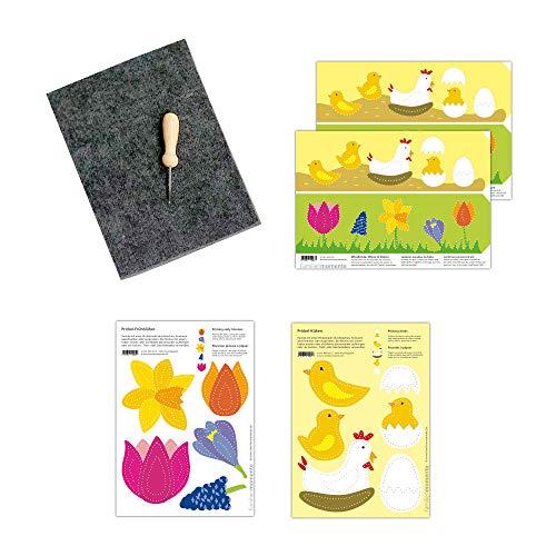 Familienmomente Bastelset zum Prickeln Wiese & Küken (1x Frühblüher, 1x Küken, 2x Windlichter Wiese & Küken) DIN A5, 100% Recyclingpapier mit Prickfilz und Prickelnadel