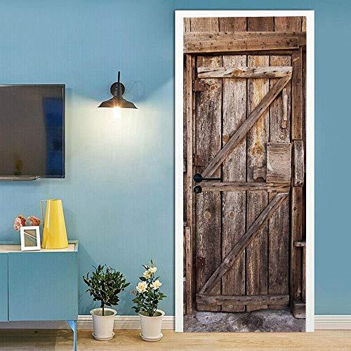 Pegatinas para puertas interiores 3D autoadhesivas, murales de puerta de madera, pegatinas de puerta de madera, vinilo impermeable extraíble 77 x 220 cm
