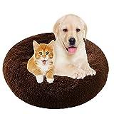 MOZTBH Cama para Perros, Cama para Gatos de Donut Cómodo Suave Lavable Camas para Mascotas con Parte Inferior Antideslizante- Brown|| Ø 50cm/20in