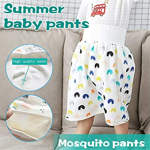 GRGM 2 Packs Washable Baby Children Belly-Protecting Diaper Skirt 2 in 1 Waterproof&Absorbent Shorts (Moon+Animal, 4-8 Years Old)