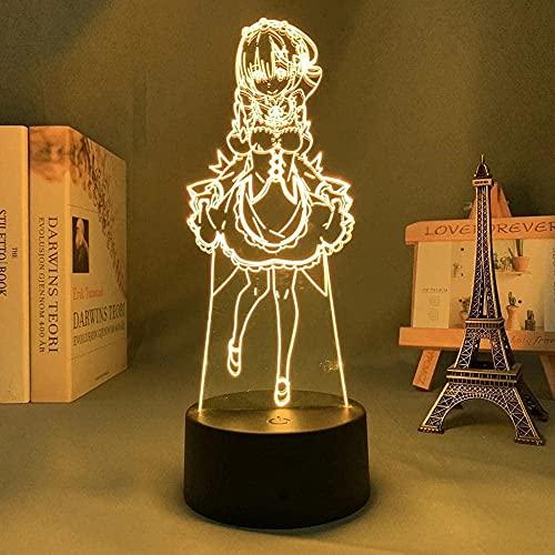 Lámpara de ilusión 3D Re Zero Rem Luz de anime japonés