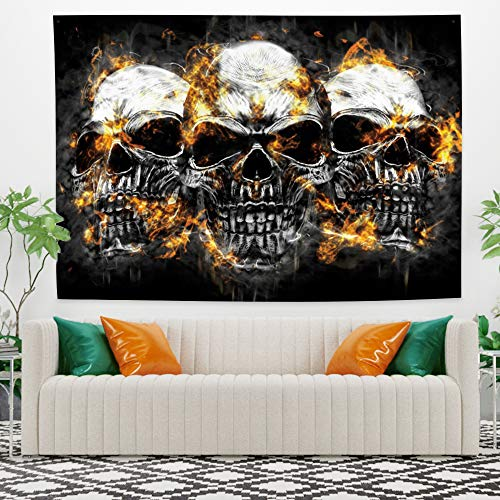 HiDecor Wandteppich mit Totenkopf-Motiv, Schwarz