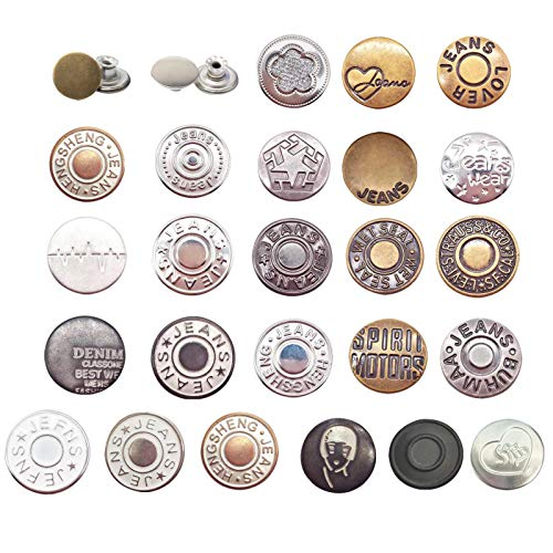 Botón de mezclilla único diseño de ranura ajustable de cuero broche único reutilizable botón de metal