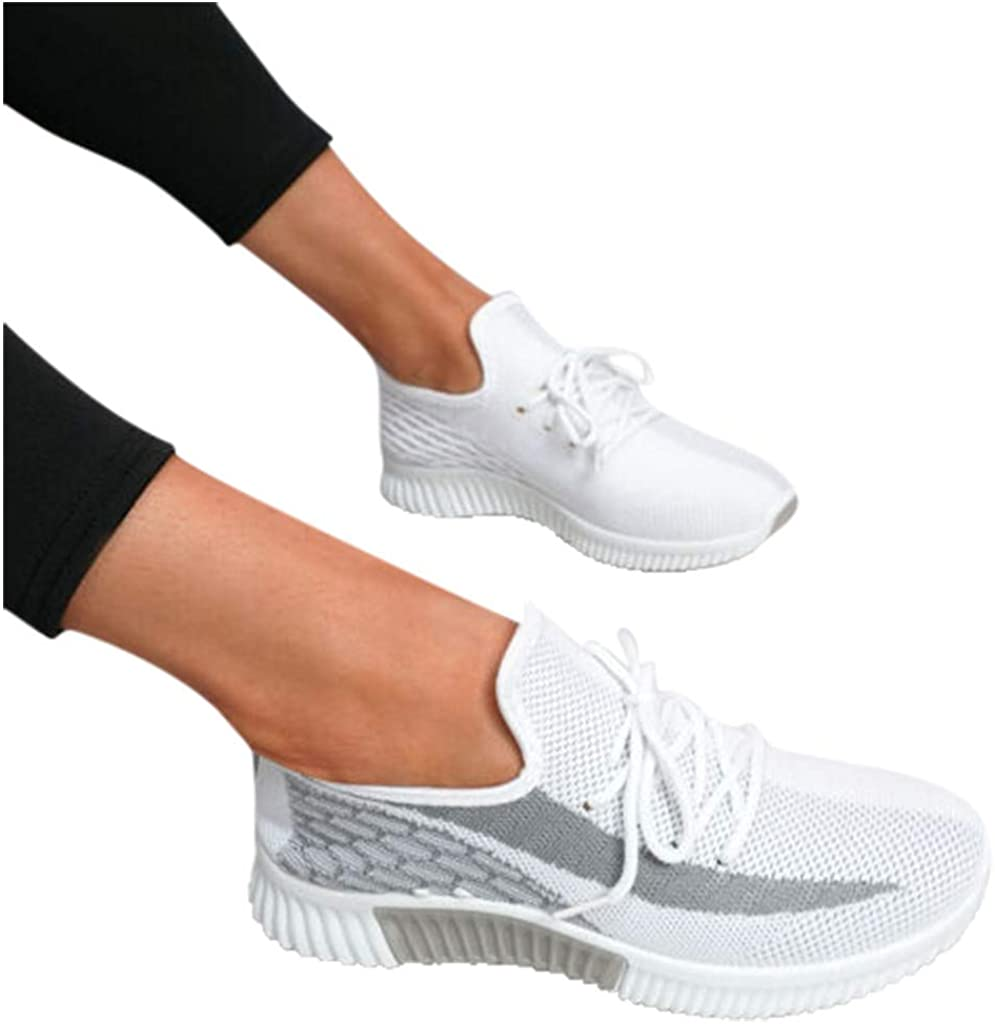 AODONG Walking Shoes for Women,Womens Breathable Sneakers Athletic Running Shoes Slip Ons Lace Up Lightweight Tennis Shoes