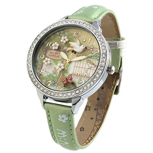DREAMING Q&P Damen Analog Quarz Uhren mit Grün Echt Leder Armband und Edelstahl Frühling Garten Design WD291