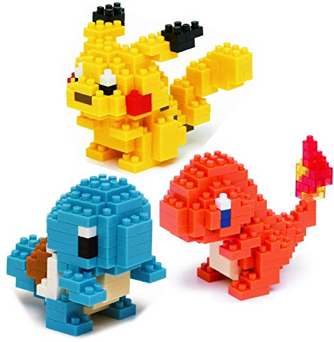 Nanoblock Building Blocks Pokemon Pikachu (130pcs), Charmander (120pcs) & Squirtle (120pcs) Gift Set Bundle - 3 Pack