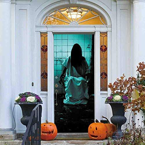 LLHBDAGhosts In Washroom Horror Effect Aufkleber Scary Halloween Aufkleber Bar Wohnheim Schlafzimmer Fenster Tür Dekoration Drop Shipping,77x200cm