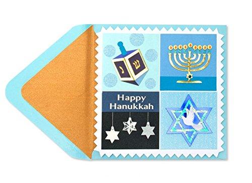 Papyrus Glitter Embellished Hanukkah Icons Card - Wishing You a Happy Hanukkah Celebration