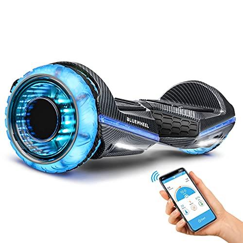 6,5' Hoverboard Bluewheel Premium | qualità Tedesca | Ruote Infinity LED & App | modalità sicura per Bambini | Altoparlanti Bluetooth | Self Balance Scooter a Doppio Motore (Nero Carbonio)