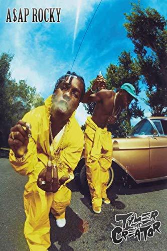 Poster della collezione Zolto ASAP Rocky and Tyler, The Creator - Tuta gialla - Poster Hip Hop, 30,5 x 45,7 cm