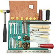 44 pcs DIY leather crafts hand sewing tools kit Leathercraft Couture Punch Tools Kit main leather crafts practical tools leather crafts drilling tools Grinding tool for seams cutting board