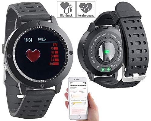 Newgen Medicals Sportuhren: Fitness-Uhr, Touch-Farbdisplay, Blutdruck- & Herzfrequenzanzeige, IP67 (Schrittzähler wasserdicht)