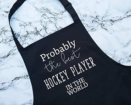 ArthuereBack Kochschürze mit Aufschrift Proprobably The Best Hockey Player in The World, Geschenk zum Kochen, Backen, Grillen für Eishockey, Feldhockey, Teamclub, Mitspieler, Trainer