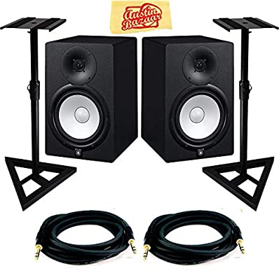 Yamaha HS7 Powered Studio Monitor Pair Bundle with Two Monitors, Stands, TRS Cables, and Austin Bazaar Polishing Cloth by YAMAHA