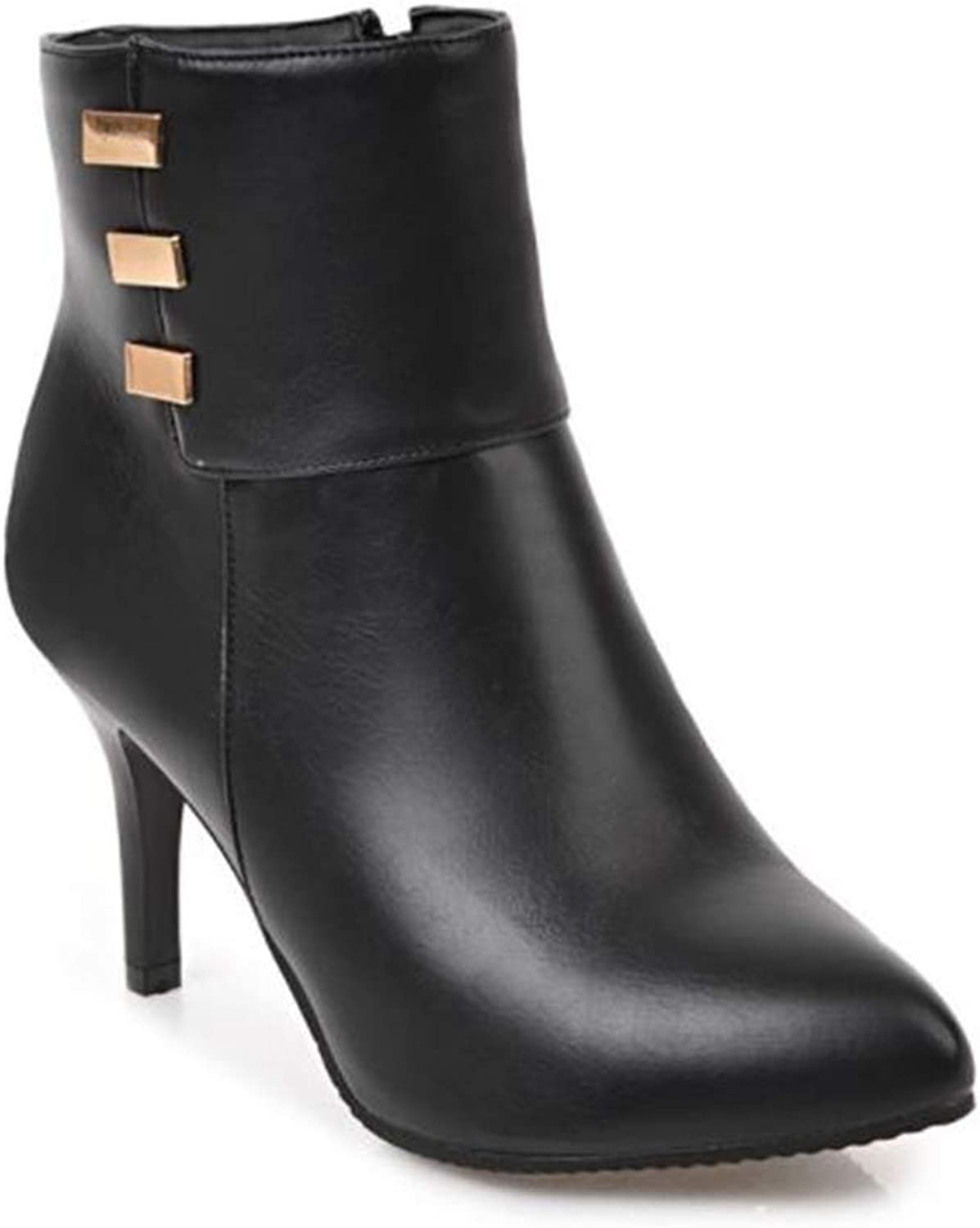 CHENSF Women's Pointed Toe Stiletto High Heel Ankle Bootie