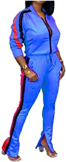 Howely Women Split Long-Sleeve Workout 2 Piece Set Stripes Sport Coat