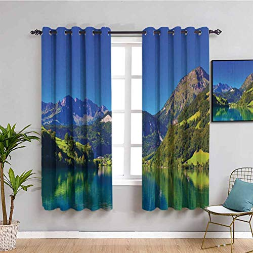 Lakehouse Decor Collection Soundproof Curtains for Bedroom View of Swiss Alps Mountain Covered with Meadow and Forest with Tranquil Lake Old Village Indoor Curtain W72 x L63 Inch Navy Blue Green Grey